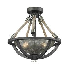 Natural Rope 2 Light Pendant In Silvered Graphite With Polished Nickel Accents