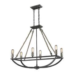 Natural Rope 6 Light Chandelier In Silvered Graphite With Polished Nickel Accents