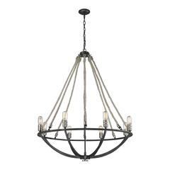 ELK lighting Natural Rope 8 Light Chandelier In Silvered Graphite With Polished Nickel Accents