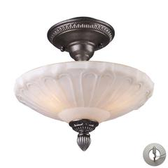 ELK lighting Restoration Flushes 3 Light Semi Flush In Dark Silver And White Antique Glass - Includes Recessed Lighting Kit