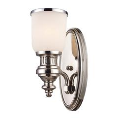 ELK lighting Chadwick 1 Light Wall Sconce In Polished Nickel And White Glass