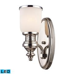 Chadwick 1 Light LED Wall Sconce In Polished Nickel And White Glass