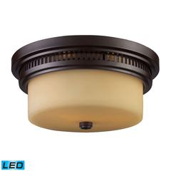 ELK lighting Chadwick 2 Light LED Flushmount In Oiled Bronze And White Glass