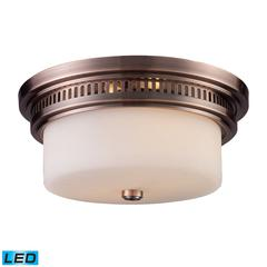 Chadwick 2 Light LED Flushmount In Antique Copper And White Glass