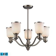 Brooksdale 5 Light LED Chandelier In Satin Nickel And White Glass