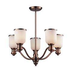 Brooksdale 5 Light Chandelier In Antique Copper And White Glass