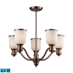 Brooksdale 5 Light LED Chandelier In Antique Copper And White Glass