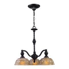 ELK lighting Norwich 3 Light Chandelier In Oiled Bronze And Amber Glass