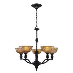 Norwich 5 Light Chandelier In Oiled Bronze And Amber Glass