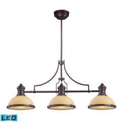 ELK lighting Chadwick 3 Light LED Billiard In Oiled Bronze And Amber Glass