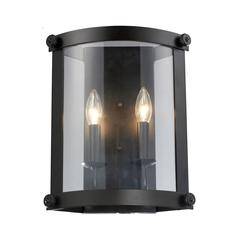 Chesapeake 2 Light Wall Sconce In Oiled Bronze And Clear Glass