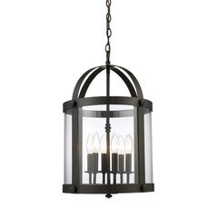 Chesapeake 6 Light Pendant In Oiled Bronze And Clear Glass