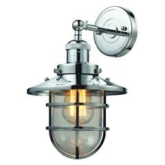 ELK lighting Seaport 1 Light Sconce In Polished Chrome And Clear Glass