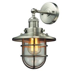 ELK lighting Seaport 1 Light Sconce In Satin Nickel And Clear Glass