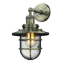 Seaport 1 Light Sconce In Antique Brass And Clear Glass