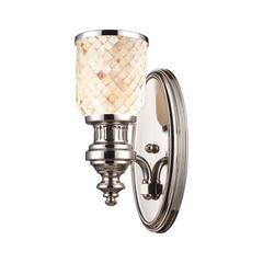 Chadwick 1 Light Wall Sconce In Polished Nickel And Cappa Shells