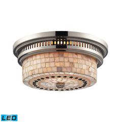 ELK lighting Chadwick 2 Light LED Flushmount In Polished Nickel And Cappa Shells