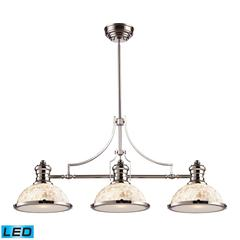Chadwick 3 Light LED Billiard In Polished Nickel And Cappa Shells