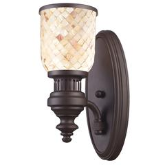 ELK lighting Chadwick 1 Light Wall Sconce In Oiled Bronze And Cappa Shells