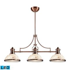 ELK lighting Chadwick 3 Light LED Billiard In Antique Copper And Cappa Shells