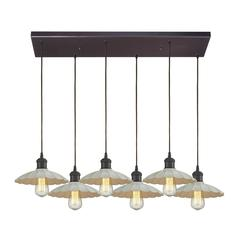 Corrine 6 Light Pendant In Oil Rubbed Bronze And White