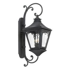 ELK lighting Manor Outdoor Wall Lantern In Charcoal And Water Glass