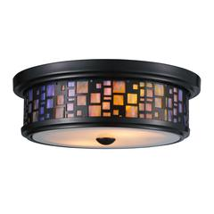 ELK lighting Tiffany Flushes 2 Light Flushmount In Oiled Bronze And Tea Stained Glass