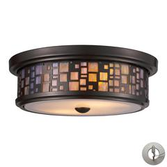 ELK lighting Tiffany Flushes 2 Light Flushmount In Oiled Bronze And Tea Stained Glass - Includes Recessed Lighting Kit