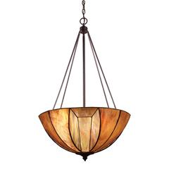 Dimensions 4 Light Pendant In Burnished Copper And Tea Stained Glass
