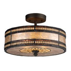 ELK lighting Mica Filligree 2 Light Semi Flush In Tiffany Bronze And Tan Mica