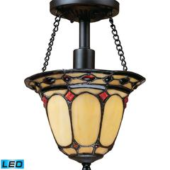 ELK lighting Diamond Ring 1 Light LED Semi Flush In Burnished Copper