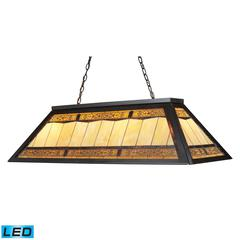 ELK lighting Filigree 4 Light LED Billiard In Tiffany Bronze With Multicolor Glass Panel Shade