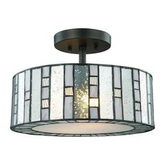 Ethan 2 Light Semi Flush In Tiffany Bronze With Mercury, Gray, And Clear Rippled Glass