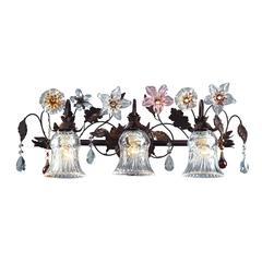 ELK lighting Cristallo Fiore 3 Light Vanity In Deep Rust With Crystal Florets