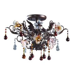 Cristallo Fiore 3 Light Semi Flush In Deep Rust With Crystal Florets