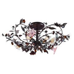 ELK lighting Cristallo Fiore 3 Light Flushmount In Deep Rust With Crystal Florets