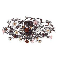 ELK lighting Cristallo Fiore 6 Light Flushmount In Deep Rust With Crystal Florets