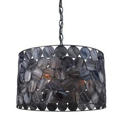 Cirque 3 Light Pendant In Matte Black And Tiffany Glass