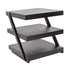 Stacked Black Teak Side Table