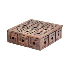 Lazy Susan Chocolate Teak  Patterned Box - Sm