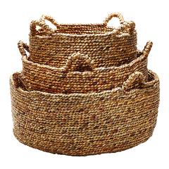 Lazy Susan Natural Low Rise Baskets- Set Of 3