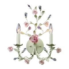 ELK lighting Heritage 2 Light Wall Sconce In Cream With Pink Porcelain Accents