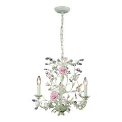 Heritage 3 Light Chandelier In Cream With Pink Porcelain Accents