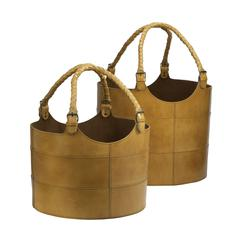 Lazy Susan Nested Caramel Leather Buckets-Set Of 2