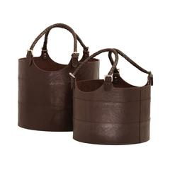 Nested Espresso Leather Buckets - Set of 2