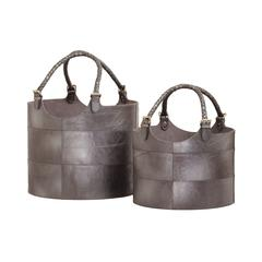 Nested Gunmetal Leather Buckets - Set of 2