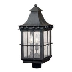 ELK lighting Taos Outdoor Post Lantern In Espresso Finish With Seeded Glass