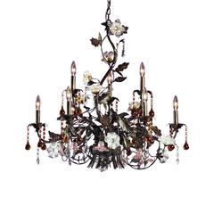 ELK lighting Cristallo Fiore 9 Light Chandelier In Deep Rust With Crystal Florets