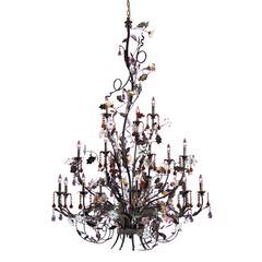 ELK lighting Cristallo Fiore 18 Light Chandelier In Deep Rust With Crystal Florets