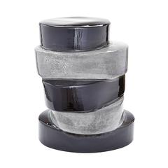 Lazy Susan Stacked Ovals Side Table  In Black And Grey
